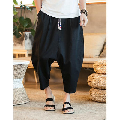 Crotch Harem Pants Mens Wide Wide Legged Bloomers Pants Male Casual Summer Pants Cropped Trousers
