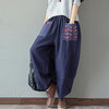 Women Harem Pants Elastic Waist Boho Print Patchwork Linen Cotton Loose Long Trousers Baggy Pantalon