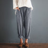 Women Harem Pants Casual Elastic Waist Pockets Loose Striped Cotton Linen Cargo Pantalon Overalls Trousers