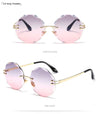 Round Fancy Colorful Women's Sunglasses Women's Brand Design Mirror Frameless Sunglasses UV400