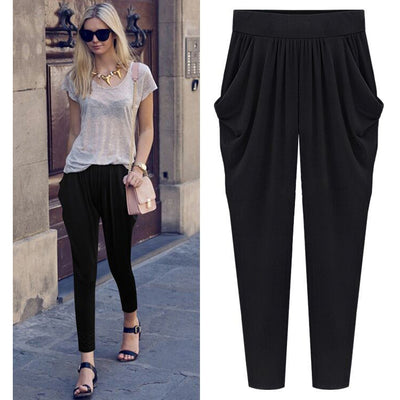 Summer Womens Harem Pants High Waist Loose Straight Ankle-length Pants Comfortable Casual Pants