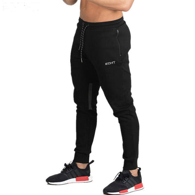 GYMLOCKER Fashion high quality Men's joggers sweatpants cotton gyms long pants Bodybuilding Sportswear Zip pocket trousers men
