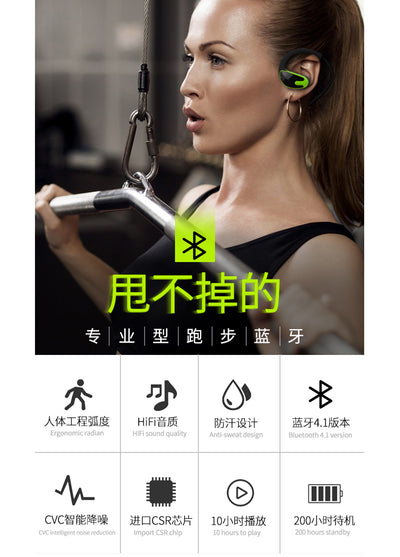 Sports Bluetooth Headphones 4.1 mini Stereo wireless Earphones Bass HIFI HD Noise Rduction Prevent Sweat