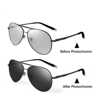 Pilot Polarized Photochromic Sunglasses Driving Chameleon Discoloration Sun Glasses