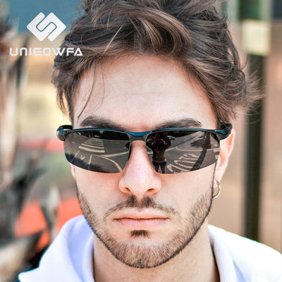 Sports Sunglasses Polarized Black Aluminum Magnesium Goggle Sun Glasses Polaroid Driving UV400
