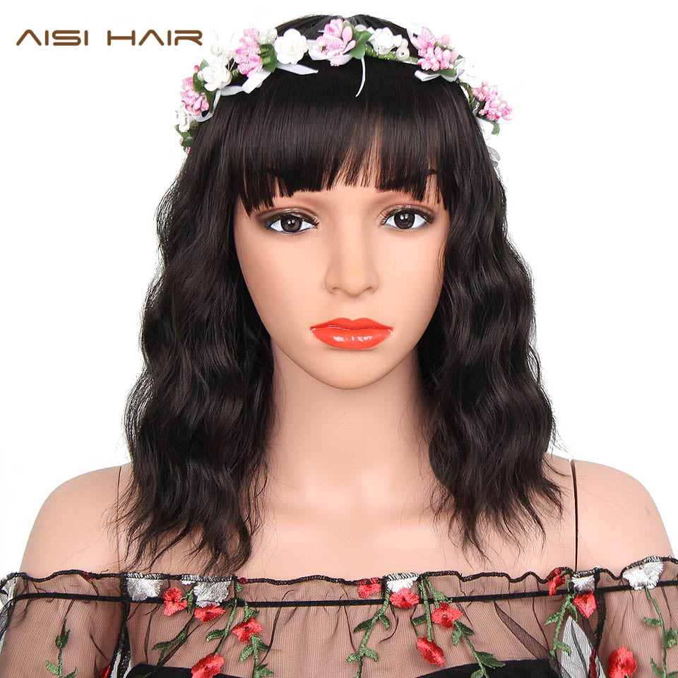 Elegant Synthetic Curly Bob with Bangs Wig
