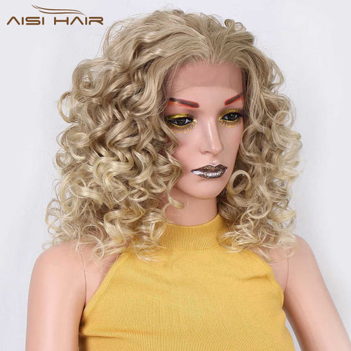 18 inch Short Blonde Curly Synthetic Lace Front  Wigs for Women  Natural Hair Heat Resistant Fiber
