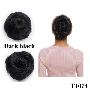 Elastic drawstring straight hair bun hair extension