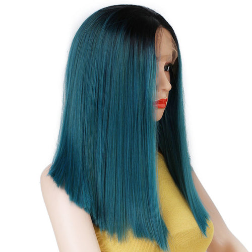 Elegant Blue/Dark Green Lace-Front Synthetic Wig
