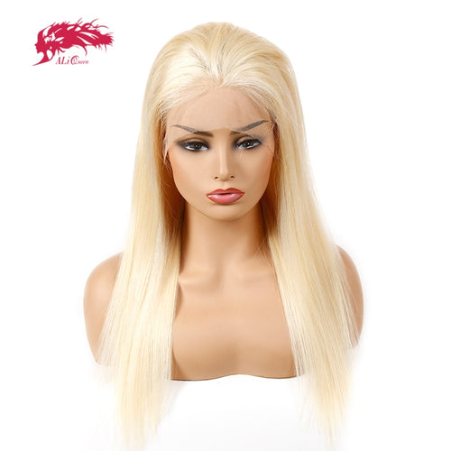 Ali Queen Hair 613 Lace Front Wigs 130% Density Pre Plucked With Baby Hair Straight Brazilian 100% Human Hair Wigs