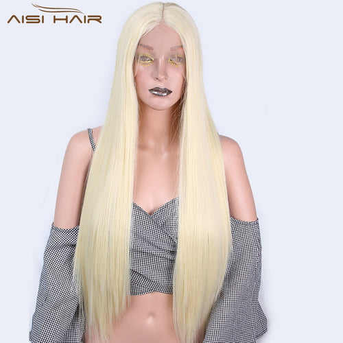 Long Synthetic Front Lace Wigs 26 inch Yellow Straight Wig for Women Middle Part 613 Color High Temperature Fiber Hair