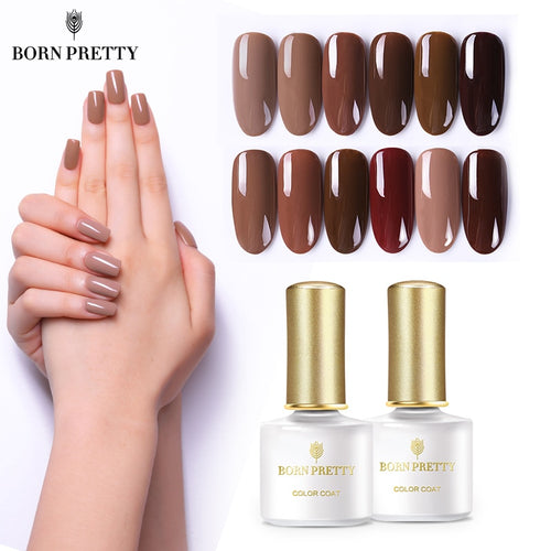 BORN PRETTY Cafe Series Pure Color Nail Gel Polish 6ml Nude Pink Caramel coffee Soak Off UV Lacquer Varnish