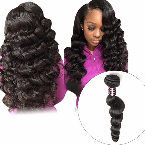 Indian Loose Wave Hair Bundle, 1 Piece 100% Human Hair Weave, Non-Remy Hair Natural Color Can Be Dyed Hair Extension 10inches
