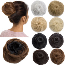 Load image into Gallery viewer, Elastic drawstring straight hair bun hair extension