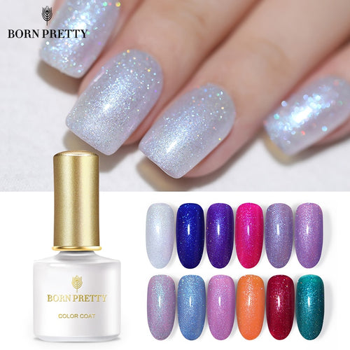 BORN PRETTY Holographic Laser Nail Gel 6ml Shimmer Glitter Colorful UV Gel Lacquer Holo Nail Varnish