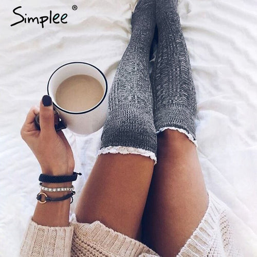 Simplee Sexy knitted lace women stockings Winter autumn thigh high over the knee leggings Casual solid lady long stockings 2018