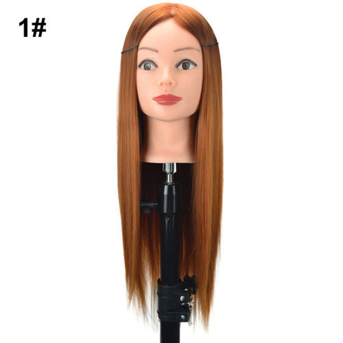 Real Human Hair Practice Head Training Mannequin + Clamp 24  Hairdressing