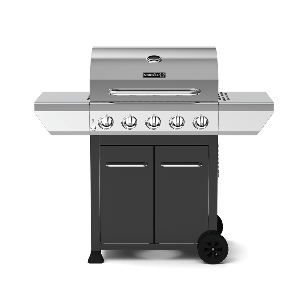 5-Burner Propane Gas BBQ in Stainless-Steel and Black Cabinet