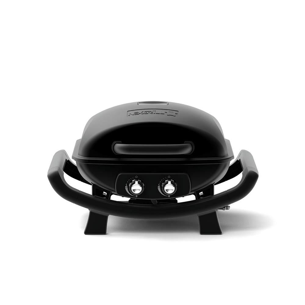 Table Top 2-Burners Propane Gas Grill in Black Cast Aluminium