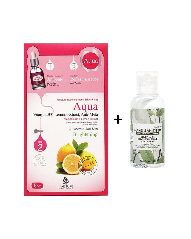 Clean Skin Kit with 3-Step Brightening Face Sheet Mask + Free Gift 30ml Hand Sanitizer - naisture