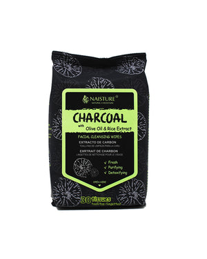 Charcoal Facial Cleansing Wipes - Naisture