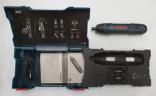 Load image into Gallery viewer, BOSCH GO2 Cordless Screwdriver, Kit Inclusions, Hard Case, Instruction Manual, USB recharging Cable, 1 BOSCH Brand PH1 Drive Bit, 1 BOSCH Brand: PH2 Drive Bit, 1 BOSCH GO2 Cordless Screwdriver.