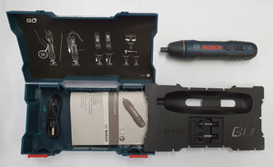 BOSCH GO2 Cordless Screwdriver, Kit Inclusions, Hard Case, Instruction Manual, USB recharging Cable, 1 BOSCH Brand PH1 Drive Bit, 1 BOSCH Brand: PH2 Drive Bit, 1 BOSCH GO2 Cordless Screwdriver.