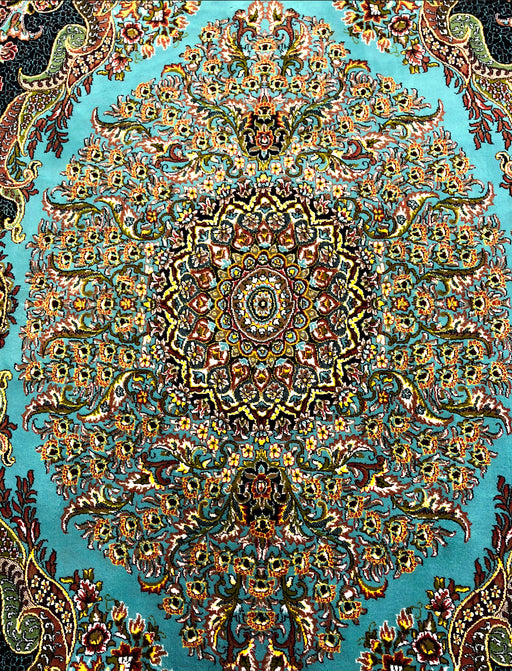 No FRINGES Shahkar 3190  Blue Beautiful Turkuaz Persian Rug