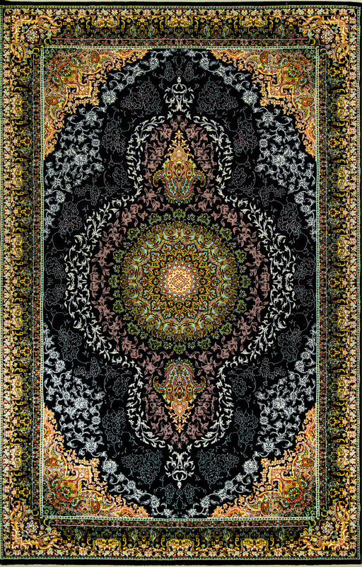 Shahkar 3997 Black Beauty of Persian Rug with NO FRINGES Good Density impressive colours