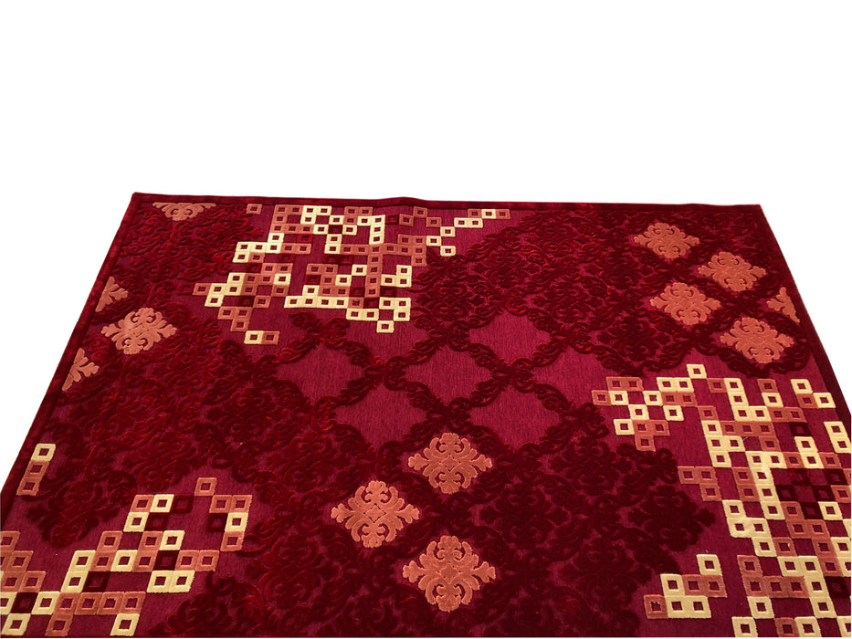 Isfahan 464RA Bordo A silk modern design rug with traditional know how