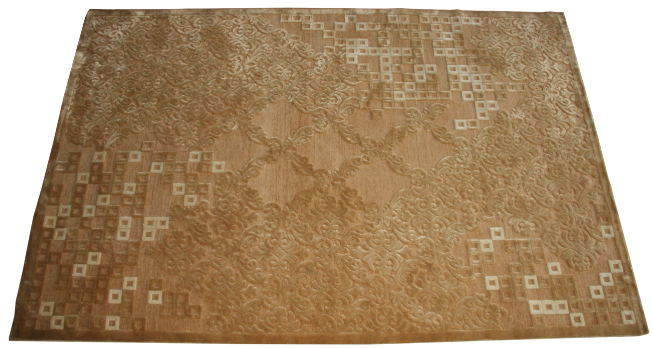 Isfahan 464 Beige and Blue A. silk modern design rug with traditional know how
