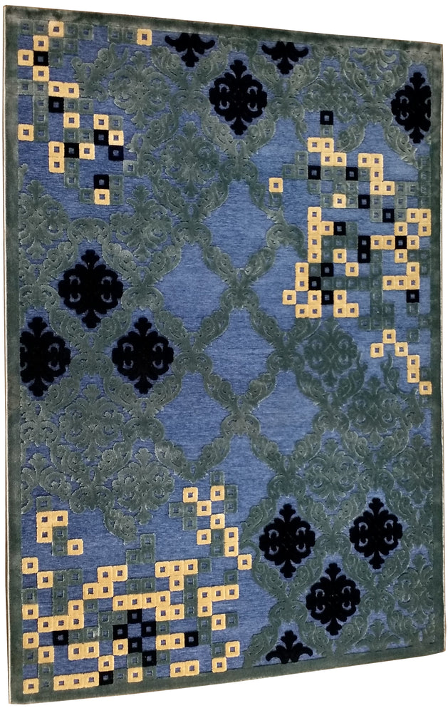 Isfahan 464 Beige  and Blue Clearence A. silk modern design rug with traditional know how