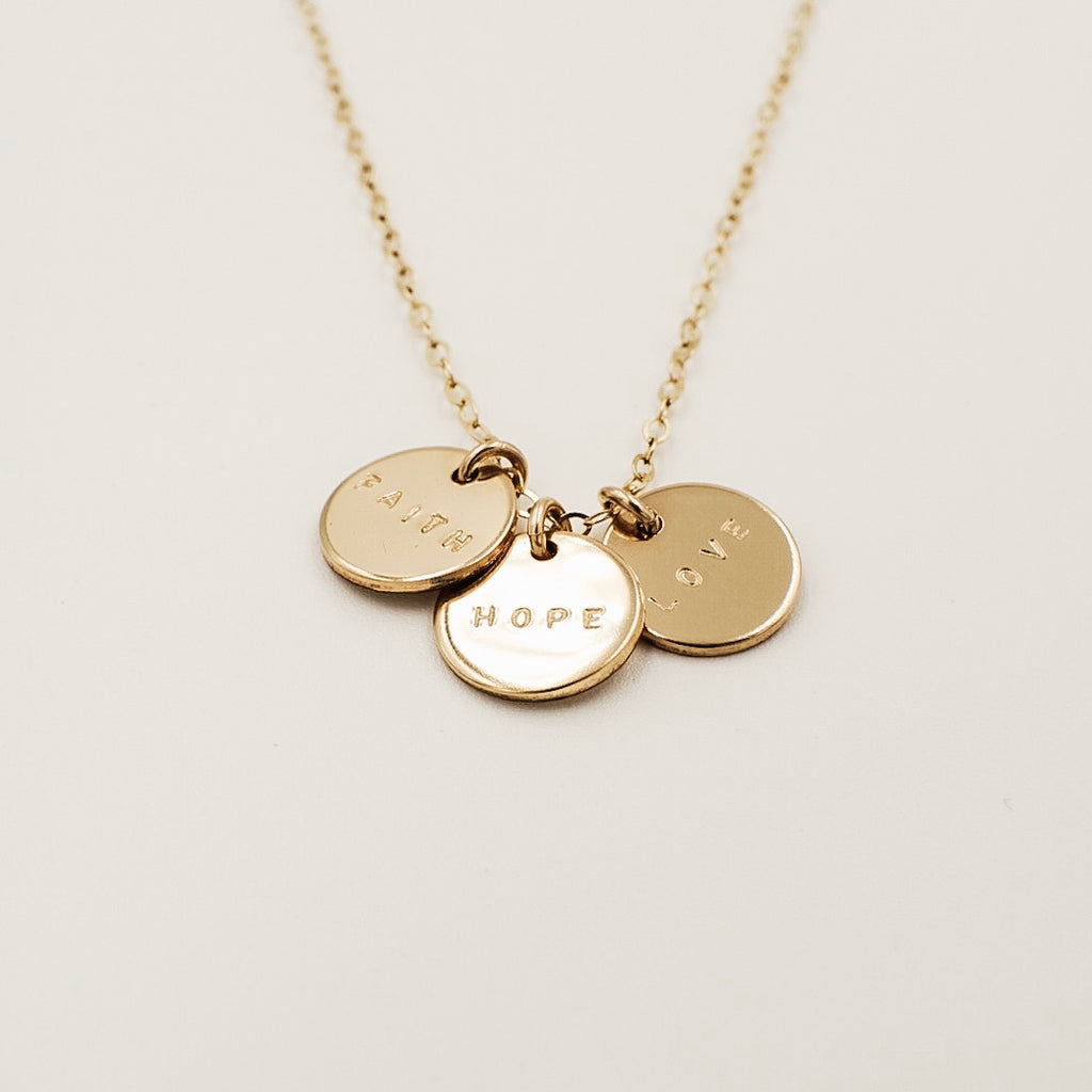 "Triple Small Disc Necklace (3/8"")"