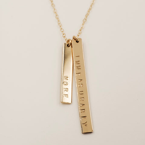 "Double Vertical Bar Necklace (1"" + 1 1/2"")"