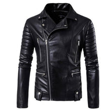 Load image into Gallery viewer, Motorcycle Jackets Leather Men Zipper