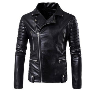 Motorcycle Jackets Leather Men Zipper