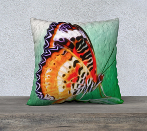 """Malay Lacewing Butterfly 2"" 22""x22"" Fine Art Pillow Case"