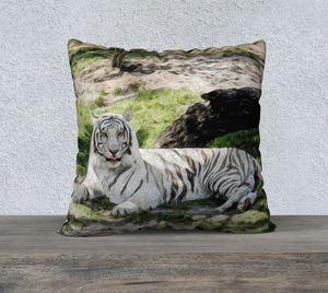 """White Tiger At Rest - R"" 22""x22"" Fine Art Pillow Case"