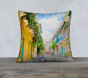 """Colonial Street - Cartagena De Indias, Colombia"" 22""x22"" Fine Art Pillow Case"