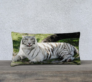 """White Tiger at Rest"" 24""x12"" Fine Art Pillow Case"