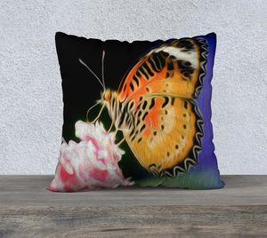 """Malay Lacewing Butterfly 1"" 22""x22"" Fine Art Pillow Case"