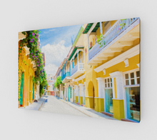 "Load image into Gallery viewer, ""Colonial Street - Cartagena De Indias, Colombia"" Fine Art Canvas"