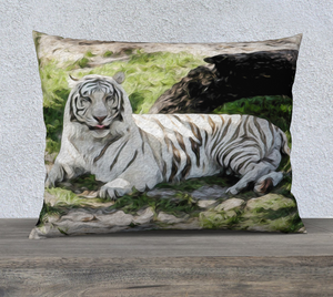 """White Tiger At Rest - R"" 26""x20"" Fine Art Pillow Case"