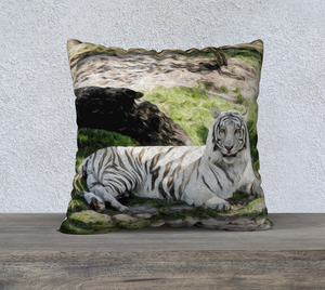 """White Tiger At Rest"" 22x22 Fine Art Pillow Case"