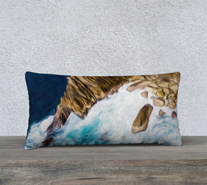 """Cliffs in Acapulco III"" 24""x12"" Fine Art Pillow Case"