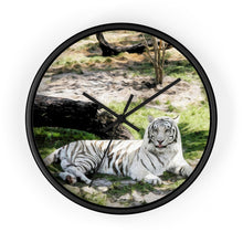 "Load image into Gallery viewer, ""White Tiger at Rest - L"" 10"" Fine Art Wall Clock"