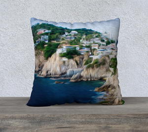 """Cliffs in Acapulco 1"" 22""x22"" Fine Art Pillow Case"