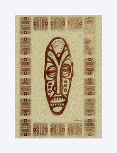"""African Mask  - Rendition 1"" Matted Fine Art Print"