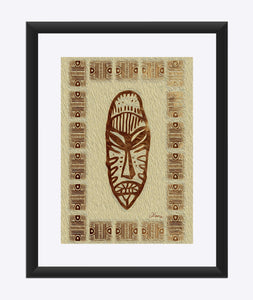 """African Mask  - Rendition 4"" Matted Fine Art Print"