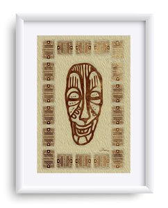 """African Mask  - Rendition 6"" Matted Fine Art Print"